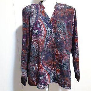 HAGGAR | multi color blouse with great neckline